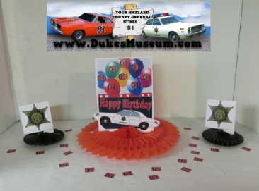"Sheriff Car Happy Birthday  8""  Fan Centerpiece"