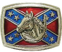 Confederate Flag w/ Horse Belt Buckle