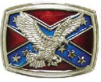 Confederate Flag w Flying Eagle Belt Buckle