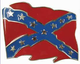 Confederate  Flag Waving Belt Buckle