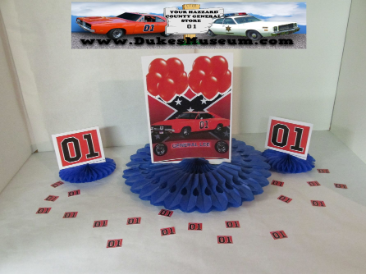 "8"" Blue Fan Centerpiece- Orange Balloons"