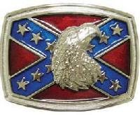 Confederate Flag W/Bald Eagle Belt Buckle