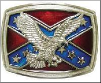 Confederate Flag w Flying Eagle Belt Buckle (SKU: BU146)