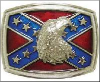 Confederate Flag W/Bald Eagle Belt Buckle (SKU: BU147)
