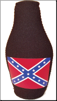 Confederate Zipper  Bottle Cozie Black (SKU: CN3256)