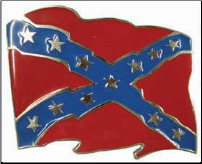 Confederate  Flag Waving Belt Buckle (SKU: BU233)