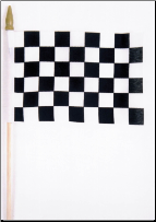 "Checker Race Flag w/ stick  4"" x 6"" (SKU: FL8626)"