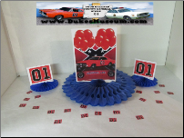 "Orange Balloons General Lee 8"" Blue Fan Centerpiece (SKU: orangeballoongeneralcenterpiece)"