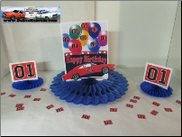 "General Lee Birthday 8"" Blue Fan Centerpiece (SKU: generalleebirthdaycenterpiece)"