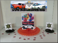 "Sheriff Car Happy Birthday  8""  Fan Centerpiece (SKU: sheriffcarcenterpiece)"