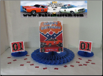 "Orange Balloons Birthday General Lee 8"" Blue Fan (SKU: orangeballoonfan)"