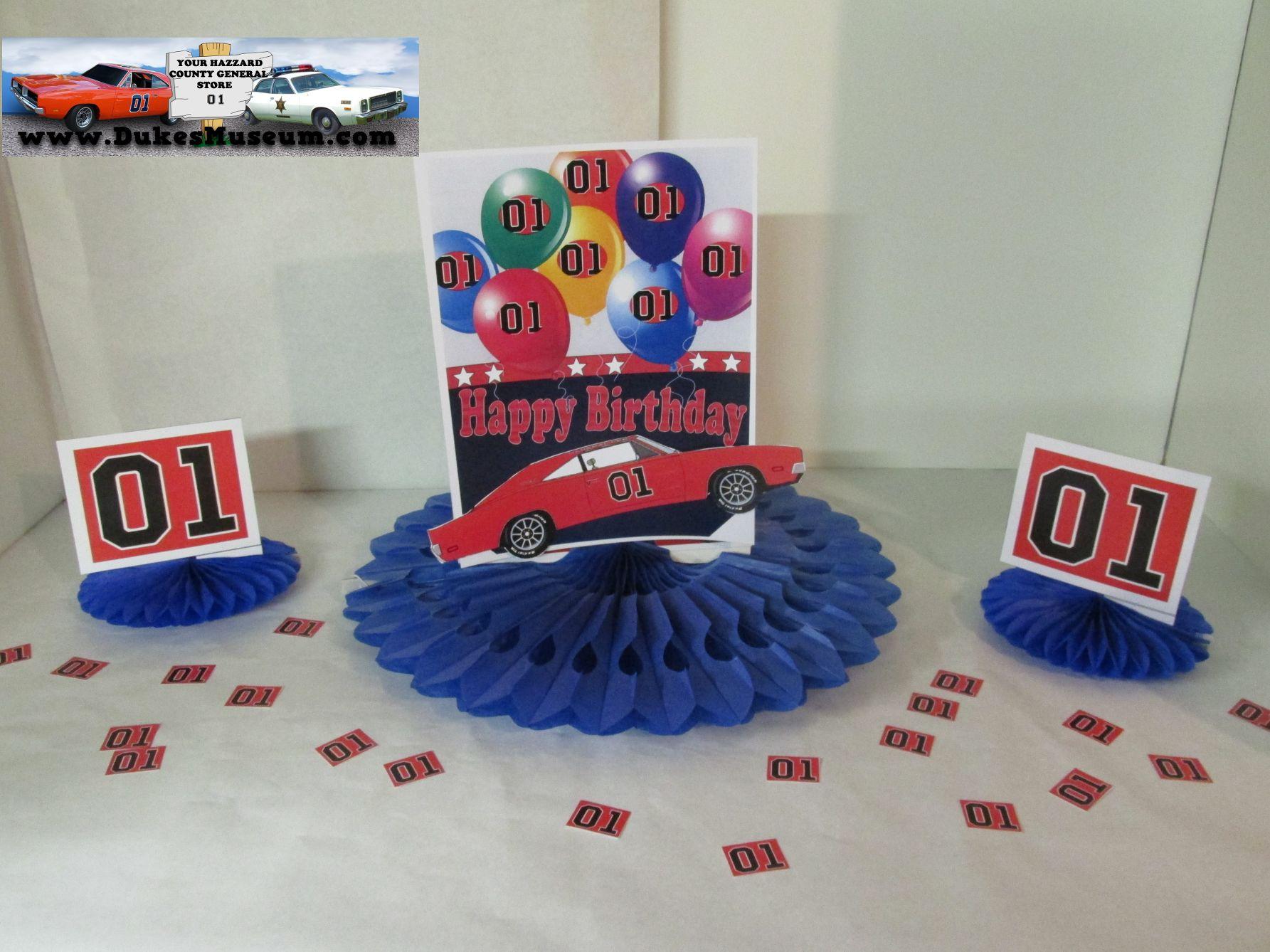 General Lee Birthday 8 Blue Fan Centerpiece
