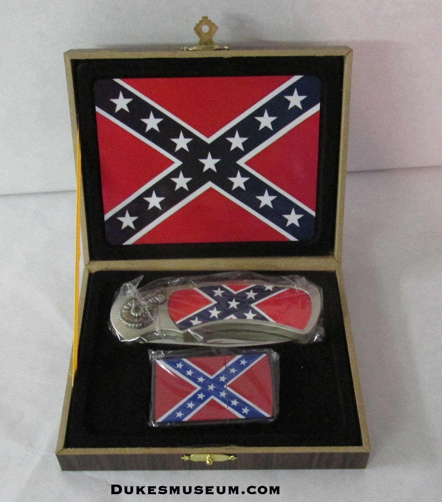 Box with confederate pocket knife and a bonus confederate lighter